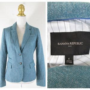 Banana Republic Turquoise Blue Herringbone Blazer